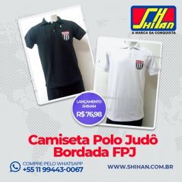 Camiseta polo Judô  Masculina  Bordado FPJ Branca